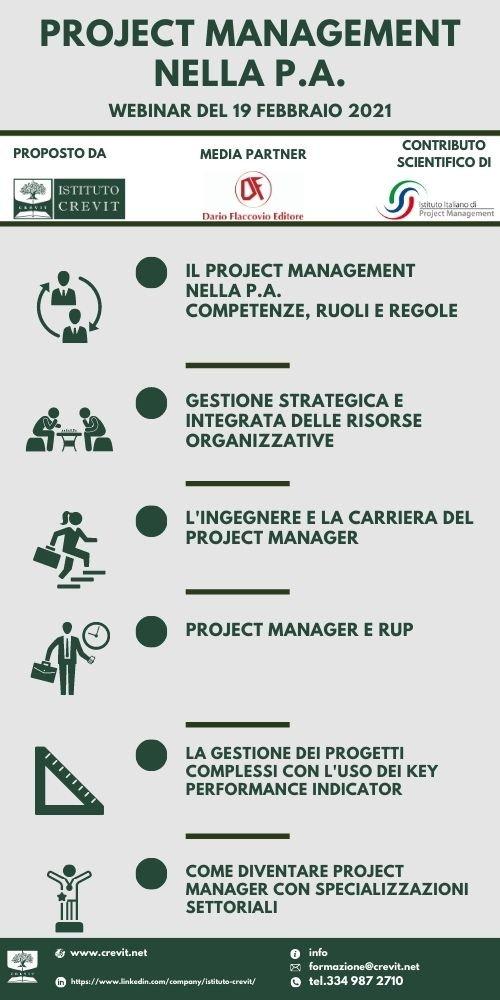 Project Management - programma del webinar Istituto CREVIT